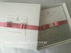 Boxed wedding invitation with silver glitter and crystal embellishment by Simplystylishstationery