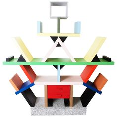 1981, Ettore Sottsass, Memphis Carlton Bookcase   From a unique collection of antique and modern bookcases at https://www.1stdibs.com/furniture/storage-case-pieces/bookcases/