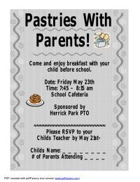 Pastries with Parents Invitation - PTO Today Pta School, School Fundraisers, School Counseling, School Events, School Ideas, School Leadership, Parent Volunteers, Family Engagement, Parents As Teachers