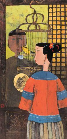 Hu Yongkai (Chinese, born 1945) 'Watch Into Birds'