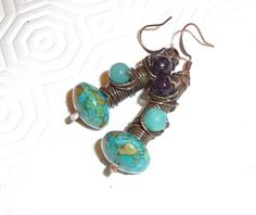 Tangled earrings Copper Earrings Oxidised Patinated by mmgem, $32.00
