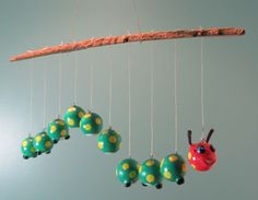 Unique Baby mobile CUSTOM Caterpillar Mobile with by Potbellies, $55.00