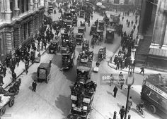 Horse drawn and motorised traffic near the Bank, London, 1st May 1910