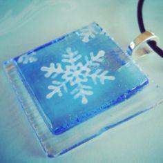Fused Glass Snowflake Pendant