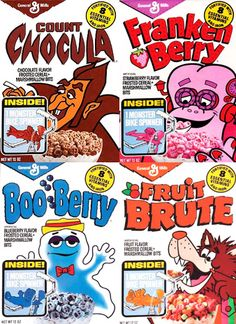 The Monster Cereals back in the day! I had forgotten all about Fruit Brute!!! And check out the prizes...Monster Bike Spinners!! :-)