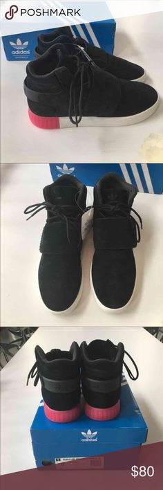 Adidas Sneakers 👟 Last Pair 🎉 Brand new with tags Adidas Original tubular invader strap sneakers. Black suede material perforated front detail. Flap Velcro's over at the front for a nice detail. Back bottoms and side of shoe have a hot pink detail. Comes in original box and packaging. Adidas Shoes Sneakers