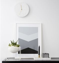 Rectangular Italian Carrara marble tray featured here with the white Kubus bowl and Frame storage box from By Lassen. Menu wall clock hanging #menu #clock #carrara #marble #italian #bylassen #bowl #homewares
