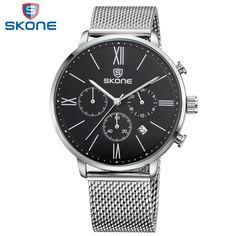 SKONE Watch Men Stainless Steel Mesh Montre Homme Calendar Watches for Men Multifunction Mens Wristwatches Relogio Masculino2017