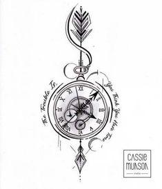 Pocket Watch Tattoo Commission by cassiemunson-art on Devian.- Pocket Watch Tattoo Commission by cassiemunson-art on DeviantArt Pocket Watch Tattoo Commission by cassiemunson-art on DeviantArt - Pocket Watch Tattoos, Pocket Watch Tattoo Design, Clock Tattoo Design, Compass Tattoo Design, Pocket Watch Drawing, Nautical Compass Tattoo, Pocket Watch Art, Compass Drawing, Mens Compass Tattoo