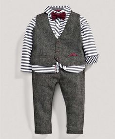 Boys Limited Edition Four Piece Shirt, Bow Tie, Waistcoat and Trousers Set - Special Occasion/Christening - Mamas & Papas Boys Occasion Wear, Special Occasion, Little Boy Outfits, Kids Outfits, Boys Tuxedo, Toddler Vest, Mamas And Papas, Cute Kids, My Outfit