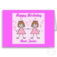 Girl Twins Happy Birthday Cards Girls Shopping Party Invitations