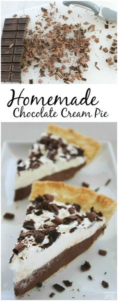 Check out this EASY Homemade Chocolate Cream Pie Recipe for a delicious Chocolate Dessert Recipe that is Kid Friendly! The perfect Holiday Pie Recipe!