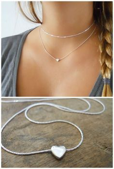 A minimal and simple silver heart necklace. Simple Necklace, Silver Pendant Necklace, Silver Earrings, Silver Jewelry, Beaded Necklace, Silver Ring, Gold Jewellery, Diamond Jewelry, Necklace Chain