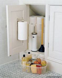 Storing Bulk Supplies Bathrooms require frequent cleanings, so keep a plastic bin with all the necessary supplies in the largest cabinet. You should store a season's worth of toilet paper in there, so guests never have to make an awkward request for more.