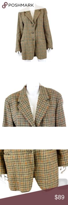 """Emporio Armani Vintage Mohair Boyfriend Blazer Emporio Armani Vintage Mohair Boyfriend Style Plaid Blazer, Size 46/US 10 Size 10   Olive green color  Plaid pattern  3 Button front closures  Long sleeves   3 Button cuffs  Welt chest pocket  2 Pockets Fully lined  Made in Italy   Condition: very light pilling on exterior. (Second hand item-has been worn by previous owner).  Measurements  Length: 33"""" Chest: 40"""" Waist: 38""""                                       100% Authenticity Guarantee…"""
