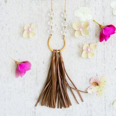 Mixed media Leather Tassel and Crystal  Necklace, Leather Tassel Necklace…