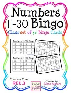 Numbers 11-30 Bingo - class set of 30 unique Bingo cards.
