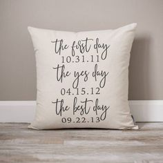 The First Day The Yes Day The Best Day Gift #weddings @EtsyMktgTool #wifegift #giftforhusband #personalizedpillow #giftsforher Personalized Pillows, Personalized Wedding Gifts, Bridal Shower Gifts, Bridal Gifts, Bride And Groom Gifts, Wedding Gift Ideas For Bride And Groom, Best Wedding Gifts, Gift Wedding, Engagement Gifts For Couples