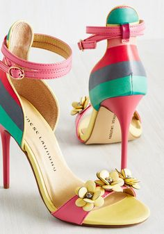 If your wardrobe is hungry for something zesty, serve up these strappy pumps! Providing your style with a healthy helping of soft yellow, teal, pink, mulberry, and crimson stripes - with a garnish of rhinestone-detailed flower embellishments - these heels are freshly picked to suit your fashion cravings.