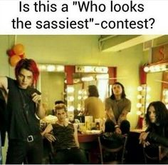 Barely a contest 😂👌 Gerard wins as always 💕 Sorry Mikey, at a close second. Emo Band Memes, Mcr Memes, Emo Bands, Music Bands, My Chemical Romance Memes, Black Parade, Gerard Way, Thats The Way, Pop Punk
