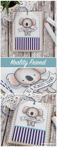 After all the busy holiday preparations, it felt so good to get creative again, and the new Koalifications set from Neat & Tangled made it so easy to get back into it. The new Neat & Tangled r Diy Cards, Handmade Cards, Koala Craft, Neat And Tangled, Doodle Designs, Animal Cards, Creative Cards, Teacher Gifts, Cardmaking