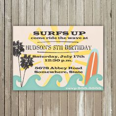 Surf's Up Birthday - Printable - Invitation. $10.00, via Etsy.