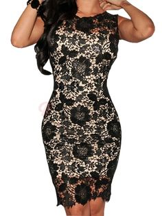 Graceful Women O-Neck Sleevless Floral Printing Slim Bodycon Dress on buytrends.com