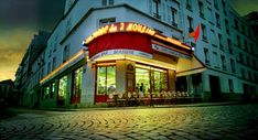 """Cafe des Deux Moulins in the Montmartre neighborhood (my favorite) of Paris, France.  If you've seen the movie """"Amalie"""", you've seen this café."""