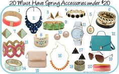 20 Must Have Spring Accessories under 20 Dollars...so many adorable and fashionable options for cheap!!