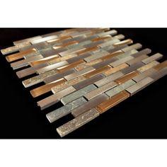 Bronze Aluminum Multi Color Slate  Light Brown and Beige Glass Backsplash Mosaic Tile