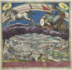 Johann Sadeler (I) | De planeet Mars en zijn invloed op de wereld, Johann Sadeler (I), 1585 | De god Mars op zijn zegewagen, getrokken door twee paarden, rijdend op de wolken. Linksboven het sterrenbeeld Ram, rechtsboven het sterrenbeeld Kreeft. Onderaan een rivierlandschap met vechtende soldaten en brandende steden. Onder de voorstelling een lofdicht in het Latijn over de invloed van planeet Jupiter op de streken van Europa (Engeland, Italië, Duitsland, Spanje). Deze prent maakt deel uit…