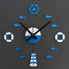 Aliexpress.com : Buy 3D wall clock, Mediterranean feeling, DIY clock, home decoration, blue & red from Reliable Wall Clocks suppliers on Super Home Market | Alibaba Group