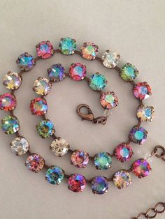 Swarovski crystal neck shimmer multi color unique by MISWINGS Gold Rings Jewelry, I Love Jewelry, Jewelry Necklaces, Jewelry Design, Jewelry Making, Jewelry Accessories, Jewlery, Bling Jewelry, Bracelets