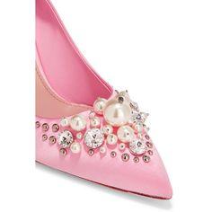 Miu Miu Embellished satin pumps ($1,005) ❤ liked on Polyvore featuring shoes, pumps, miu miu, 80s shoes, shiny shoes, polish shoes, slip on shoes and miu miu shoes