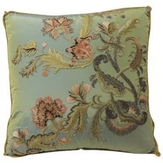 18th Century Silk Embroidery Applique Pillow   From a unique collection of antique and modern pillows and throws at https://www.1stdibs.com/furniture/more-furniture-collectibles/pillows-throws/