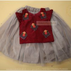 Red colour top handwork with light golden skirt Nakshatra Kids Source by Blouses Baby Girl Frocks, Baby Girl Skirts, Baby Girl Party Dresses, Frocks For Girls, Dresses Kids Girl, Girls Frock Design, Kids Frocks Design, Baby Frocks Designs, Baby Dress Design