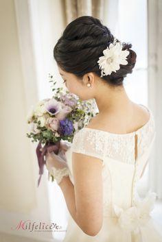 ミルフェリーチェ 出張ヘアメイク 東京 ロープ編み 花嫁髪型 花嫁ヘアスタイル