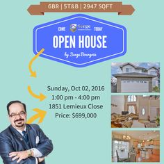 Come and visit us... Open House: Sunday Oct 02, 2016 Time: 1 - 4 pm Address: 1851 Lemieux Close Price: $699,000 6 bedroom 2 walkout custom built storey home with 2 kitchens 5 bathrooms. A must see.  #‎homesforsaleedmonton #‎edmontonrealestate #‎edmontonproperties  #‎edmontonhousesforsale #‎sergebourgoin #edmontonrealtor