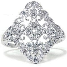 .35CT Vintage Diamond Ring 10K White Gold - $199