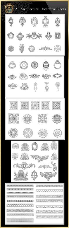 All Architectural decorative blocks Architecture Decoration Drawing,Decorative Elements,Architecture DecorationDrawing,Architecture Decor,Interior Decorating The .DWG files are compatible back to AutoCAD 2000.These CAD drawings are available to purchase and download immediately!Spend more time designing, and less time drawing!We are dedicated to be the best CAD resource for architects,interior designer and landscape designers. Q: HOW WILL I RECIEVE THE CAD BLOCKS & DRAWINGS ONCE I P...