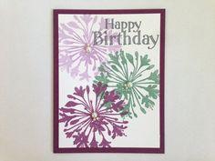 Purple and Aqua Floral Happy Birthday Card by MyPrettyPaper
