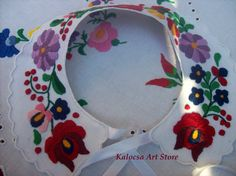 Colorful Matyo Collar Applique handembroidered by KalocsaArtStore, $35.00