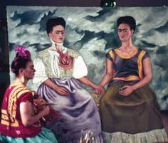 The Two Fridas, Las Dos Fridas, Frida Kahlo, - Photo by Nickolas Muray - Notice the differences between the unfinished painting in the photo and the finished one.