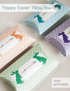 FREE printable happy easter pillow box