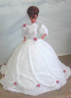 CROCHET FASHION- 510 LOVE STORY for 11 Fashion Dolls such as Barbie -Original Design from ICS Original Designs- Make with Crochet Thread. If you would like to have the patterns emailed to you rather than mailed shipping will be FREE but please Crochet Doll Dress, Crochet Barbie Clothes, Crochet Doll Pattern, Knitted Dolls, Crochet Patterns, Doll Patterns, Barbie Wedding Dress, Barbie Gowns, Barbie Dress