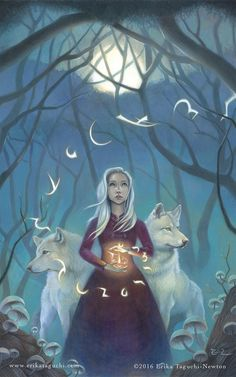 "art painting Girl with Wolves Spirit Animal Art, Magical Forest Fantasy Art Painting, White Hair Witch Fine Art Print, ""Pathfinder"" Art And Illustration, Fantasy Creatures, Mythical Creatures, Arte Latina, The Ancient Magus Bride, Wolf Spirit Animal, Forest Painting, Fantasy Kunst, Magical Forest"