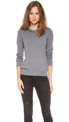 Equipment Shane Embellished Neck Sweater in Gray (Heather Grey)