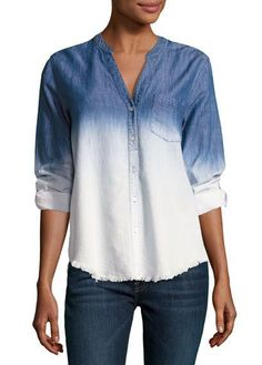 Soft Joie Normana Button Down Ombre Shirt, Blue