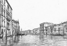 The Grand Canal, Venice, by John Ruskin    The Grand Canal, Venice  John Ruskin  Pencil on paper  Source: Frontispiece, Works, IX.  Scanned image and text by George P. Landow  [This image may be used without prior permission for any scholarly or educational purpose.]