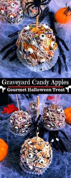 Graveyard Candy Apples - Gourmet Halloween Treat Graveyard Candy Apples: A spooktacular and delicious Halloween treat that's Super easy and fun to make. These Graveyard Candy Apples can be made 2 days in advance and this recipe makes Halloween Candy Apples, Bonbon Halloween, Dessert Halloween, Halloween Food For Party, Halloween Halloween, Jolly Rancher, Halloween Backen, Gourmet Candy Apples, Hallowen Ideas